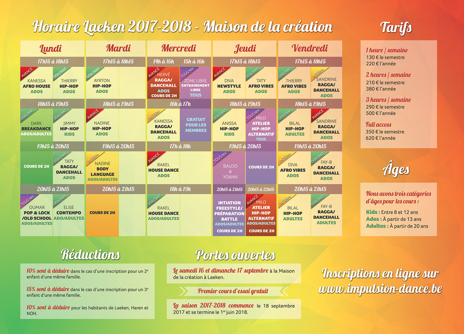 horaire 2017 2018
